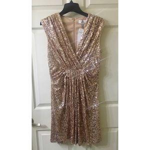 Bell Badgley Mischka Rose Gold Sequin Dress Sz 10